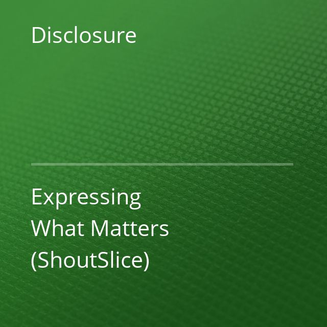 Disclosure - Expressing What Matters (ShoutSlice)
